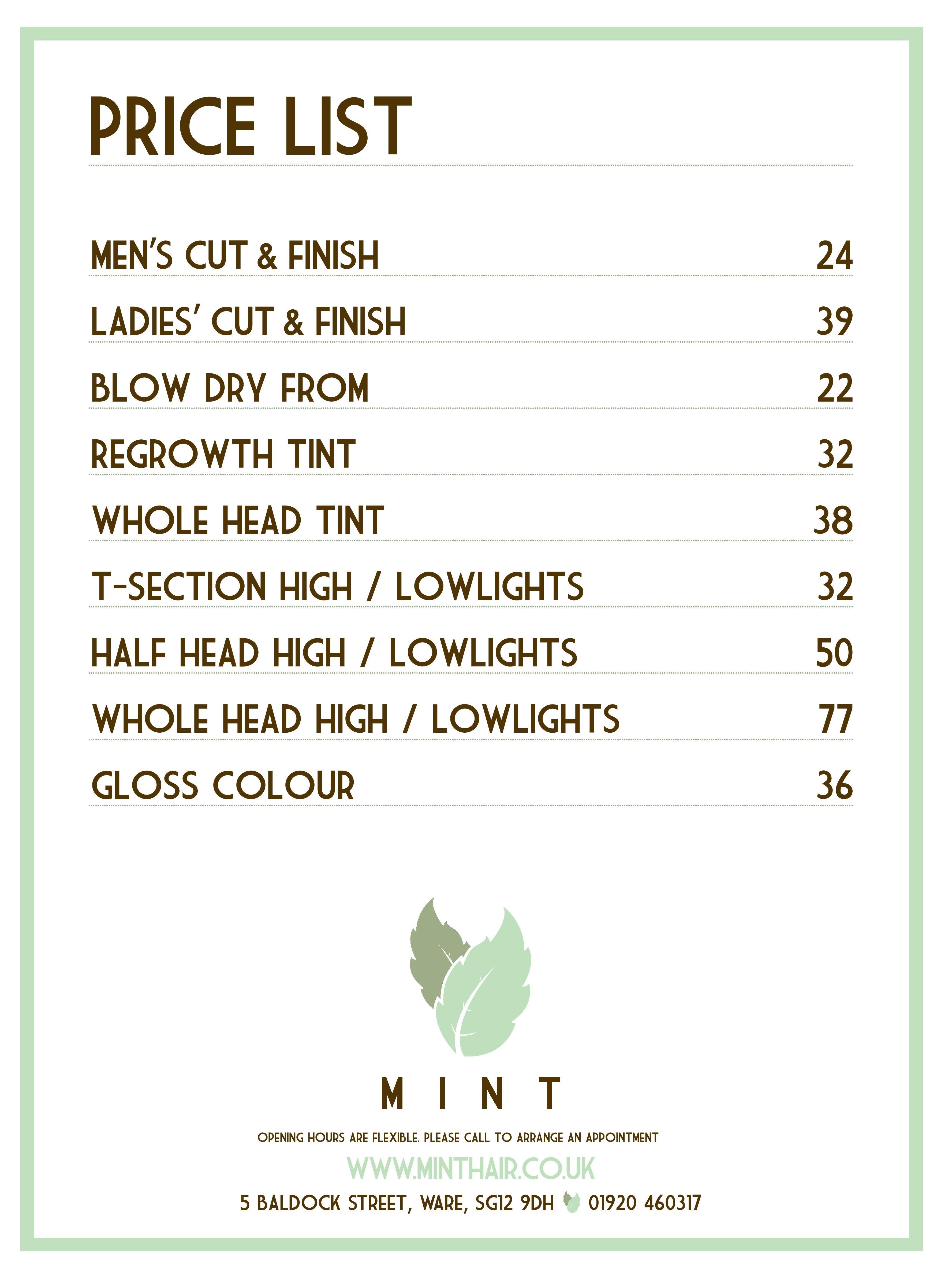 Mint Hair Salon Ware 01920 460317 5 Baldock Street